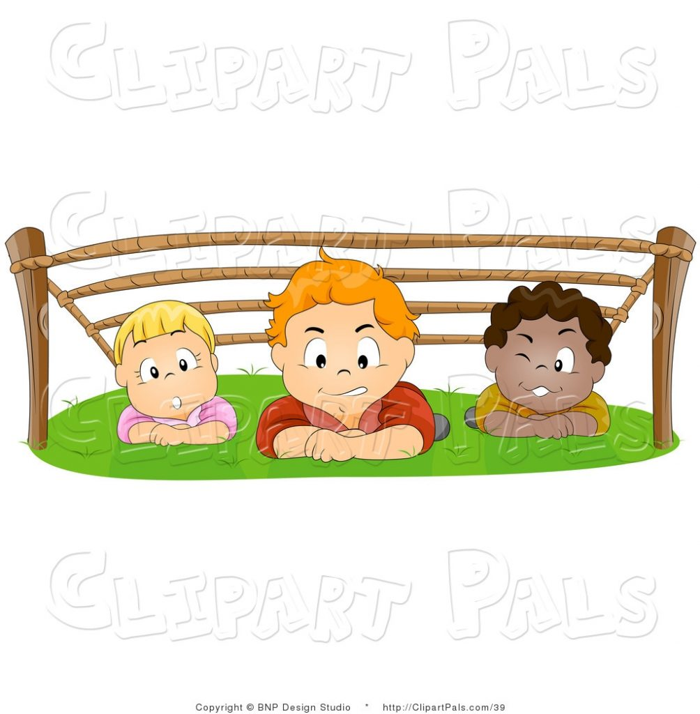 pal vector clipart of a group of kids hiding out and
