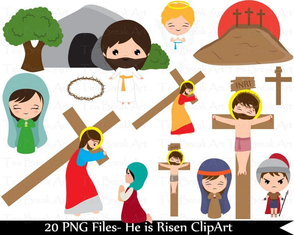 parts of way of the cross and the resurrection clipart set 2