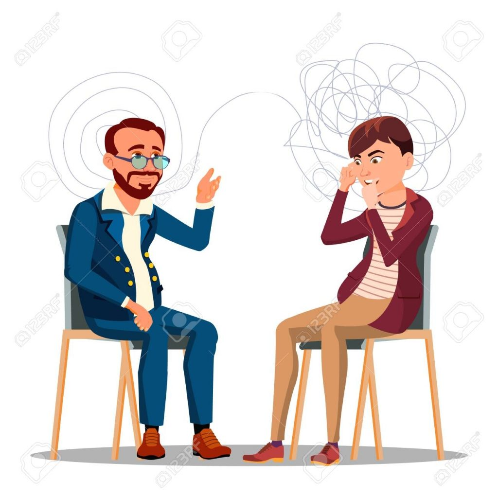 patient at psychiatry counseling psychotherapy cartoon character