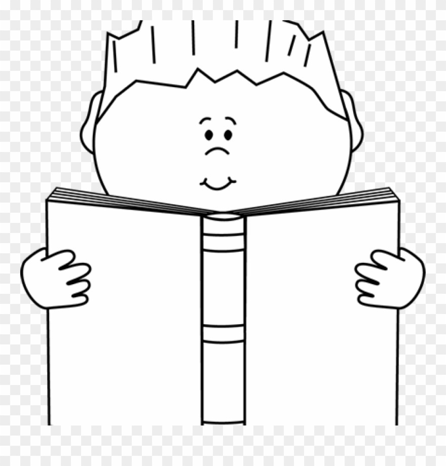 reading clipart black and white reading a book clip