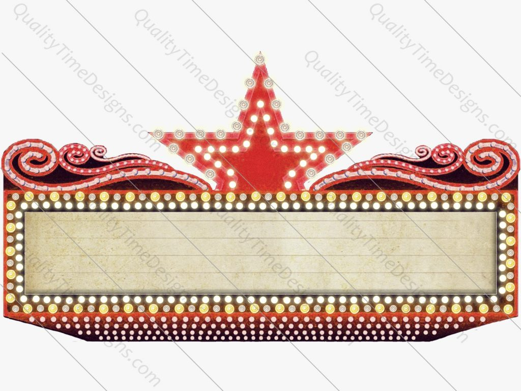 red marquee sign frame with lights clipart star vegas
