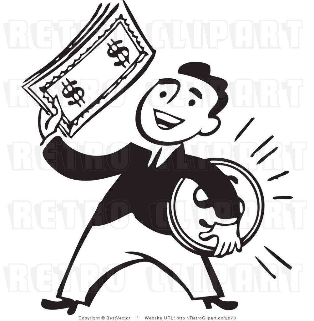 retro clip art of a smiling businessman holding a large coin