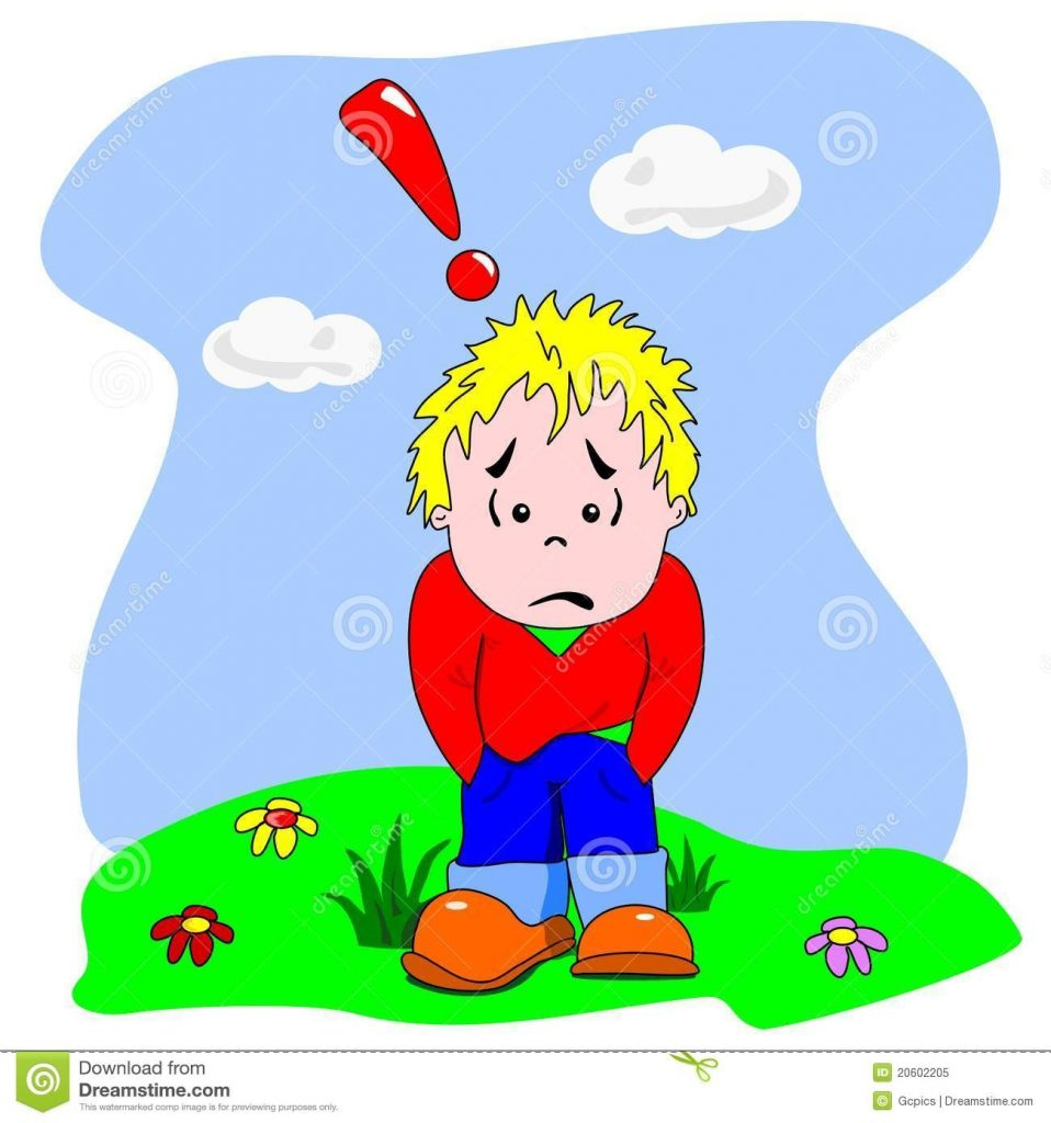 sad lonely cartoon boy stock vector illustration of