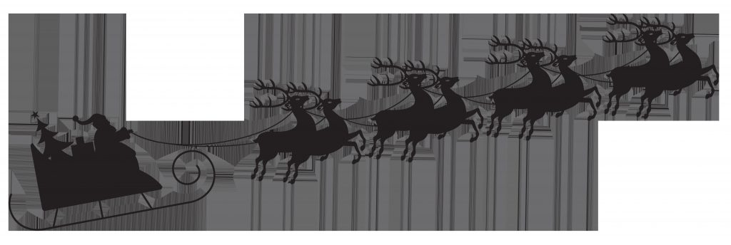 santa with sleigh silhouette transparent png clip art image