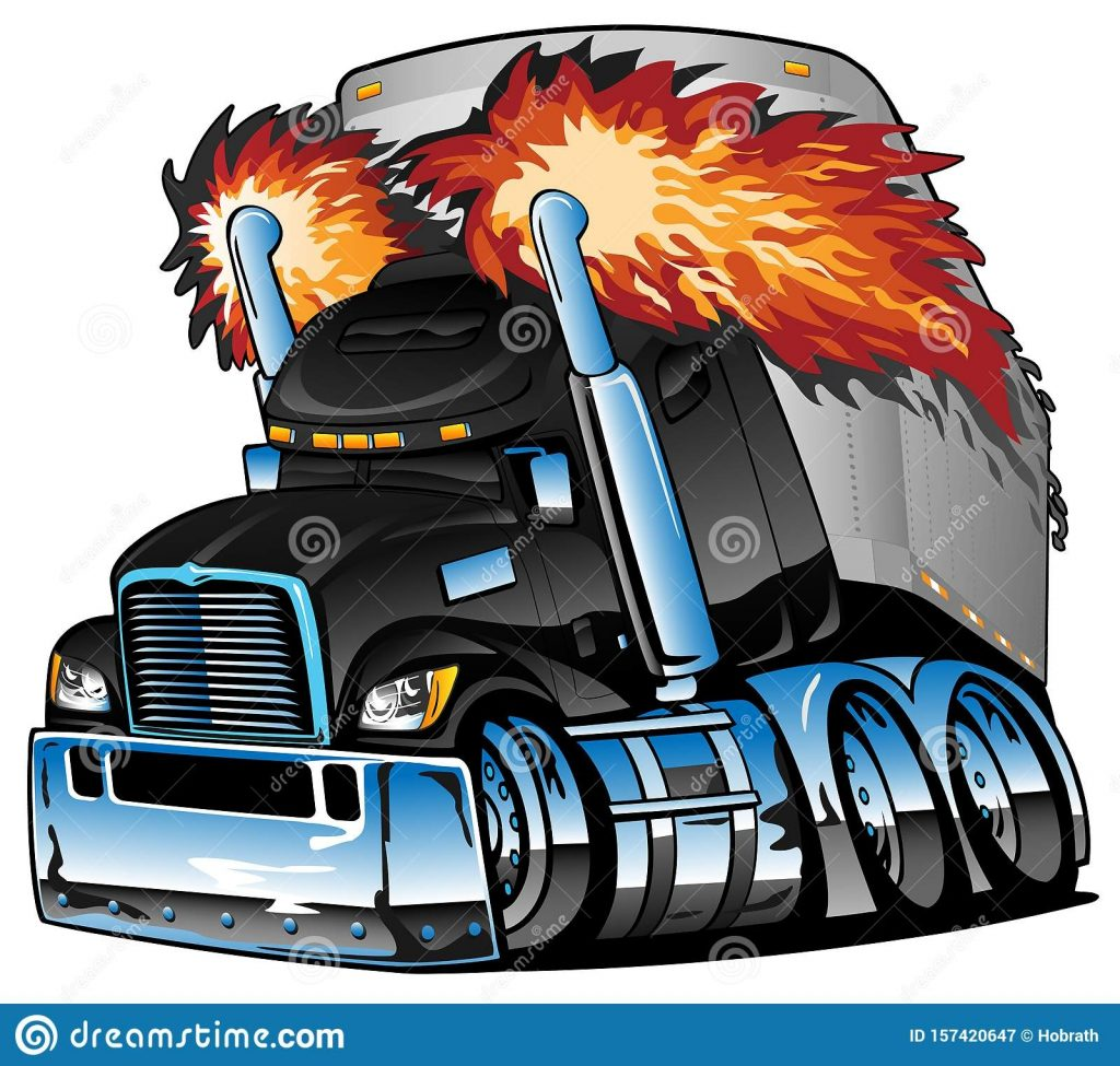 semi truck tractor trailer big rig black flaming exhaust