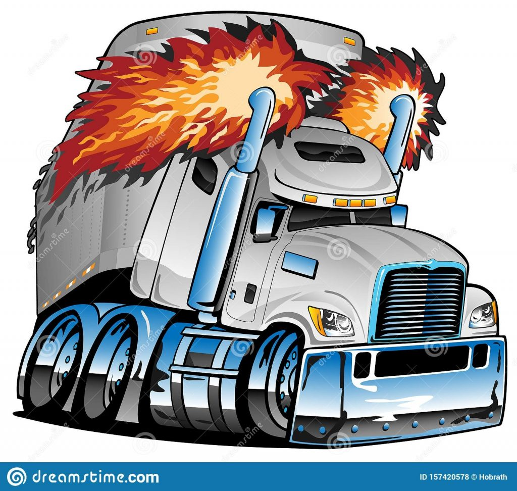 semi truck tractor trailer big rig white flaming exhaust