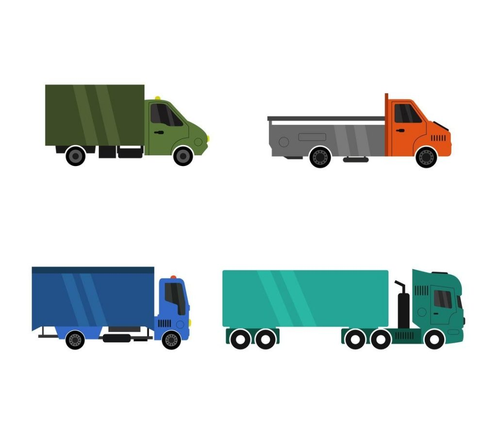 set of commercial trucks icons download free vectors