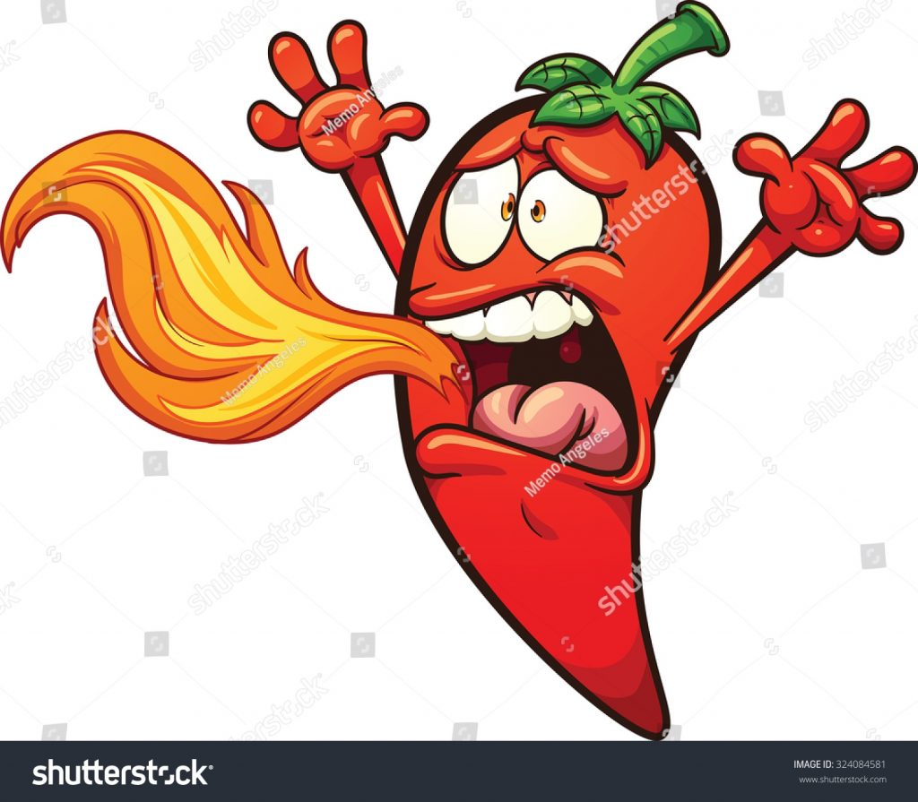 spicy chili pepper breathing fire vector stock vector
