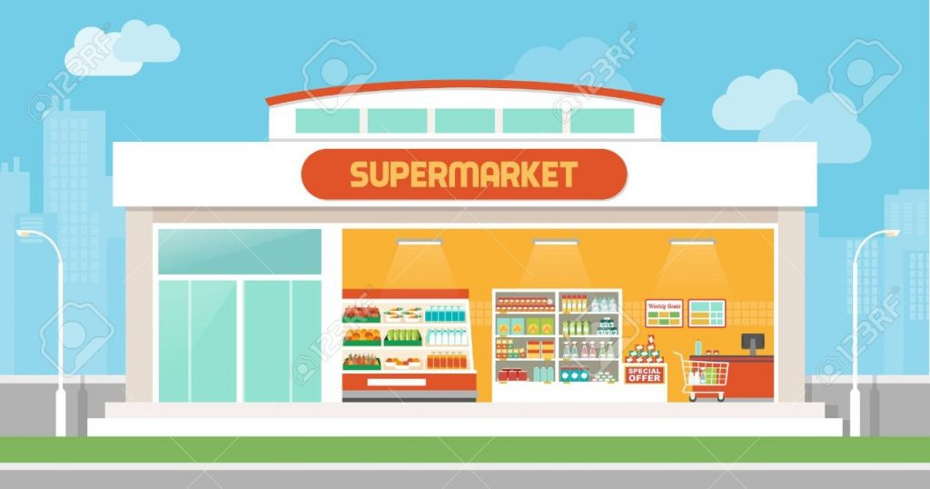 supermarket building and interior with products on shelves and