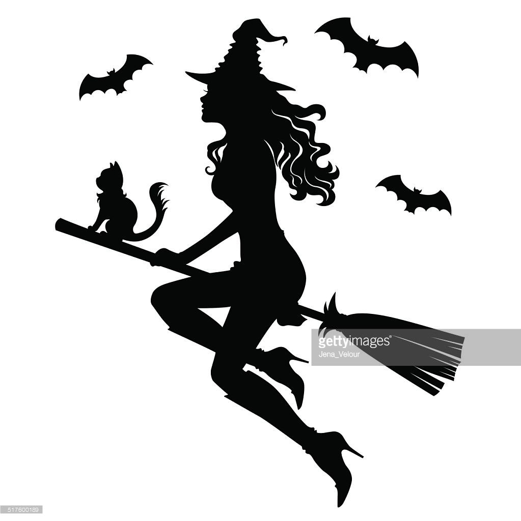 the beautiful silhouette of a witch on a broom witch