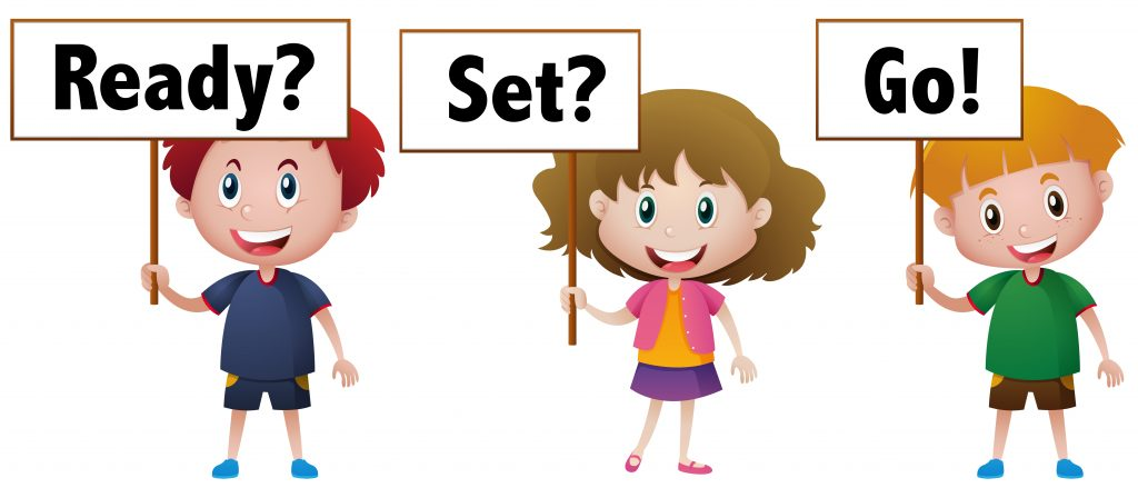 three kids with sign ready set go download free vectors