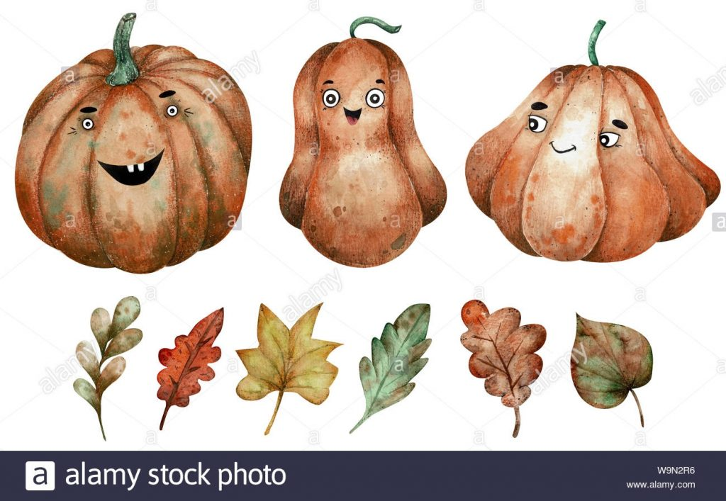 three orange watercolor pumpkins and autumn leaves clipart