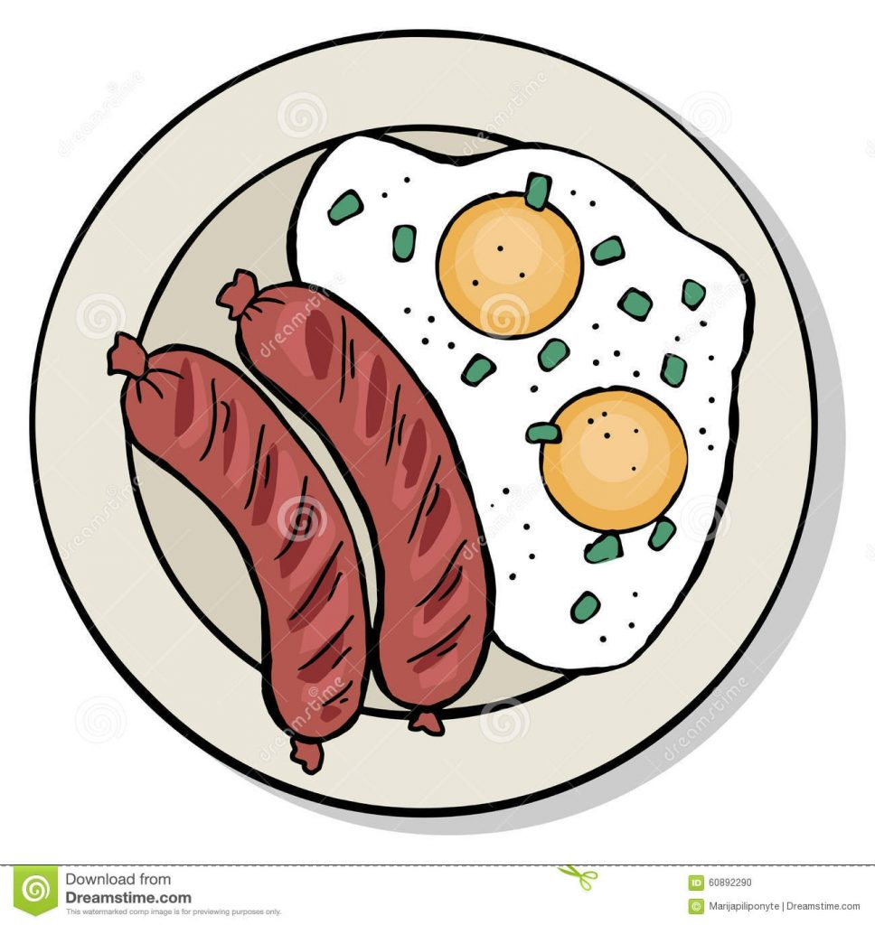 top view of breakfast food plate stock vector illustration