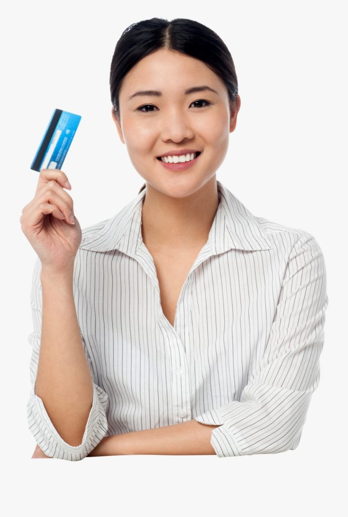 transparent girl wondering clipart lady holding atm png