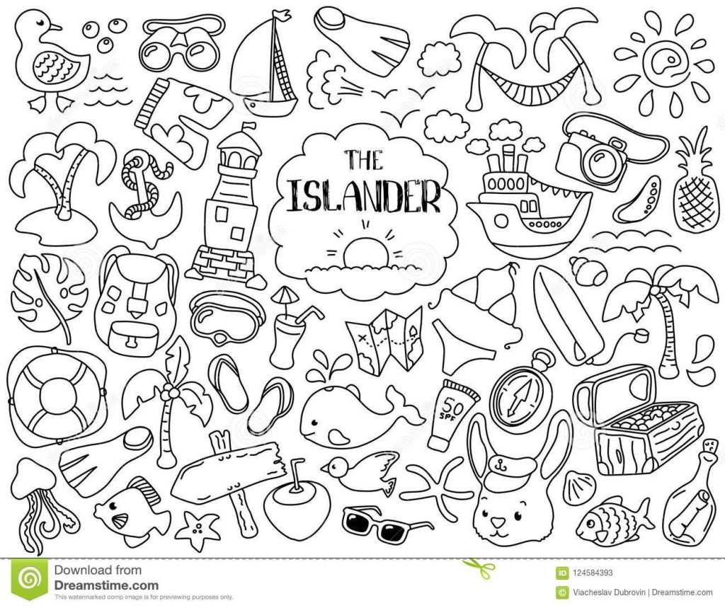 tropical vacation and marine travel clipart black line