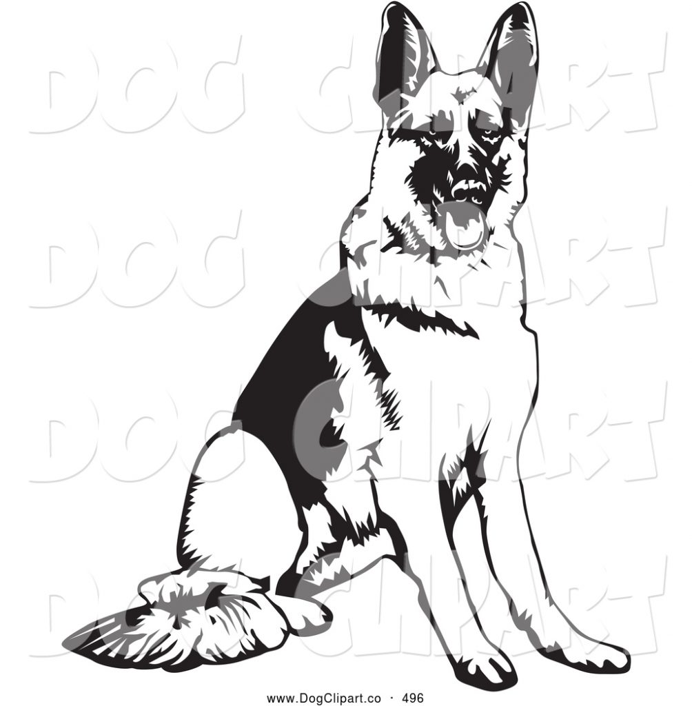 vector clip art of a cute and obedient german shepherd dog