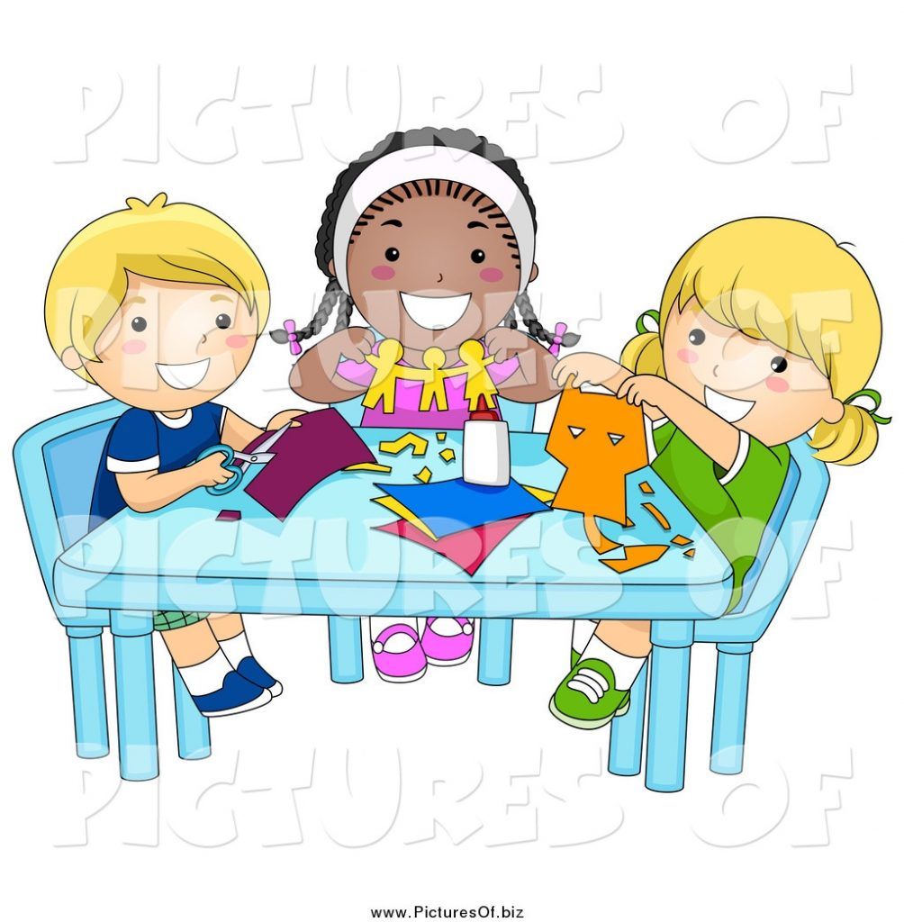 vector clipart of diverse happy school kids cutting paper in