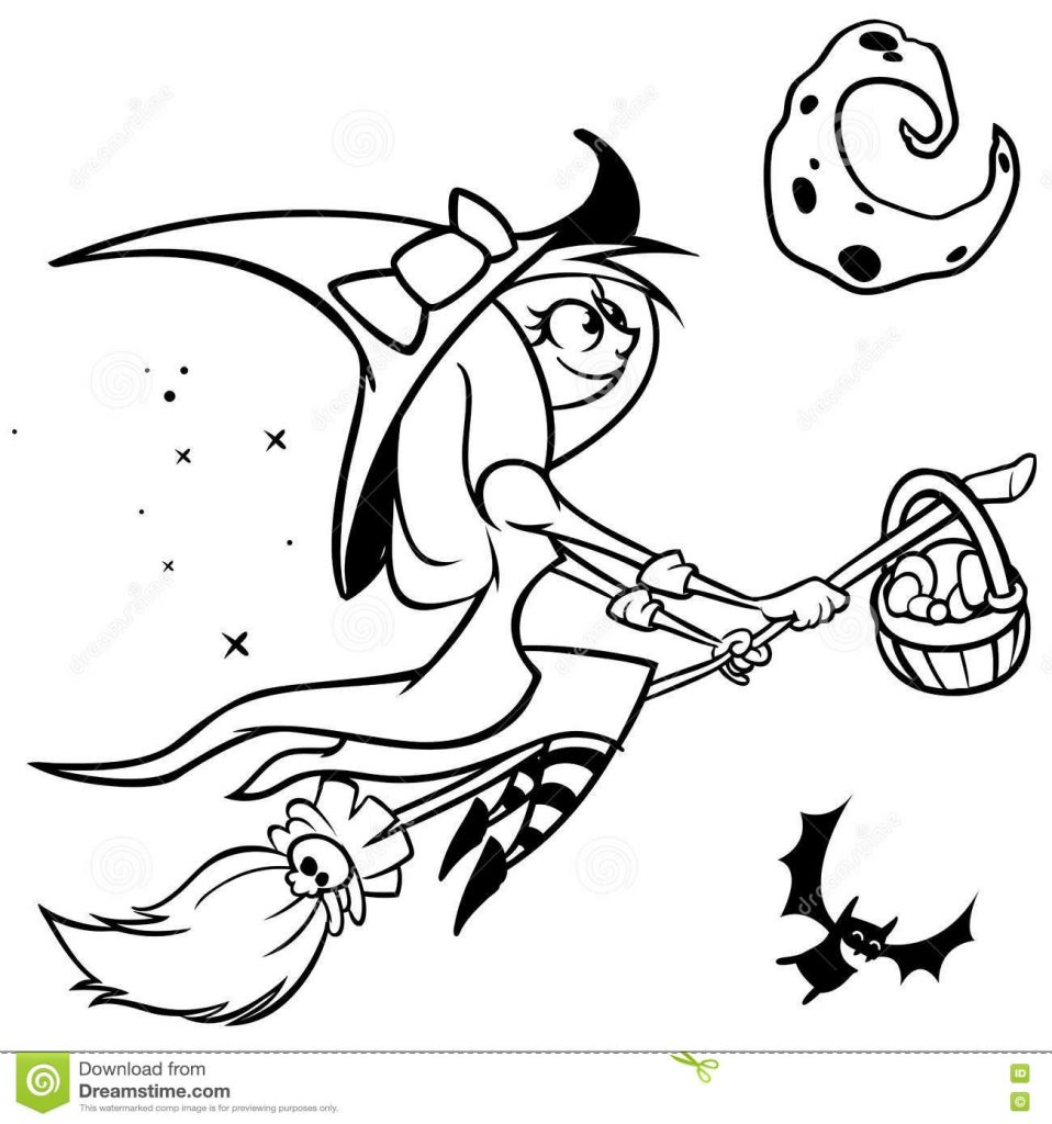 vector funny halloween witch flying on her broomblack