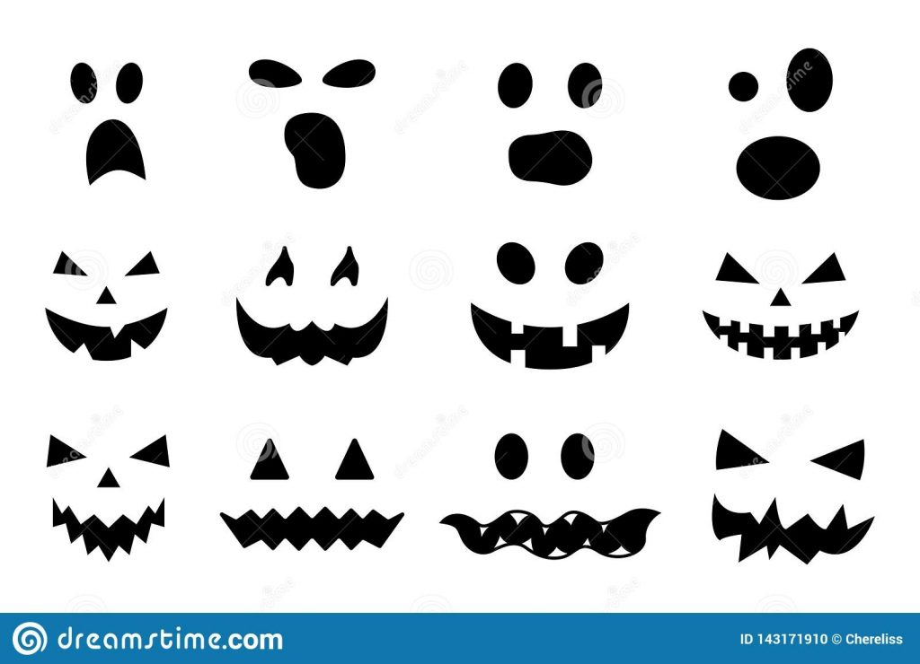 vector set of halloween pumpkin faces isolated on white