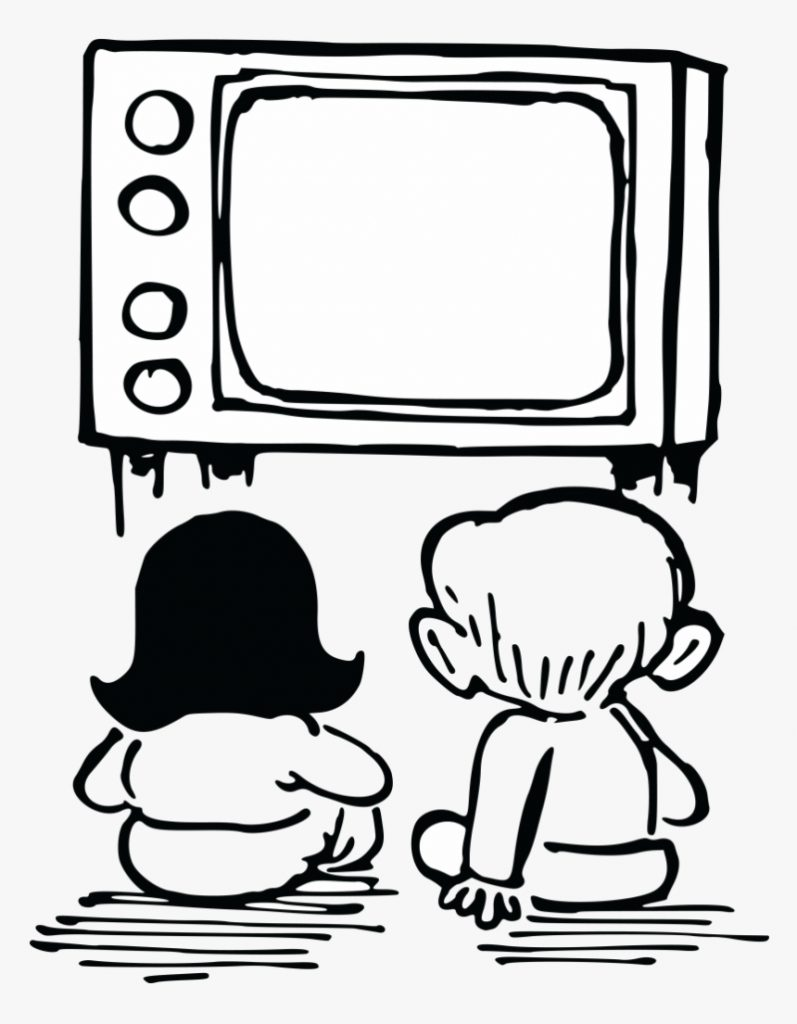 watching tv clipart of television box and clay tablet