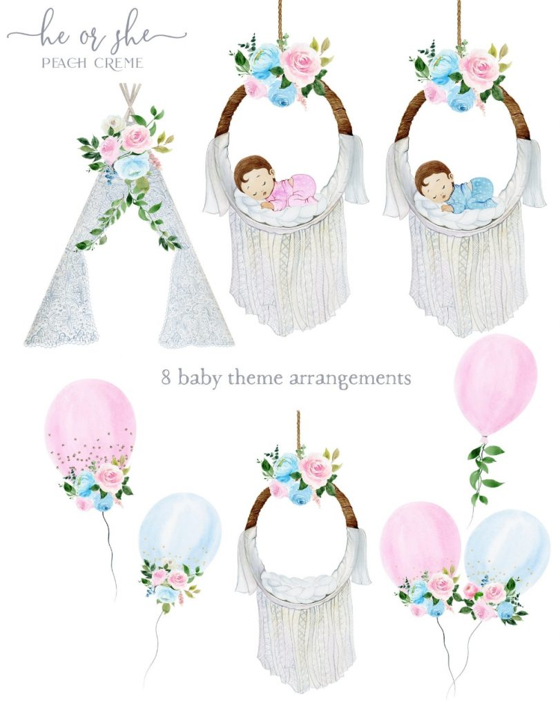 watercolor ba shower clipart ba gender clipart reveal