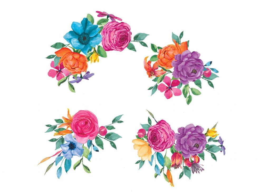 watercolor fiesta flowers set flower clipart mexican