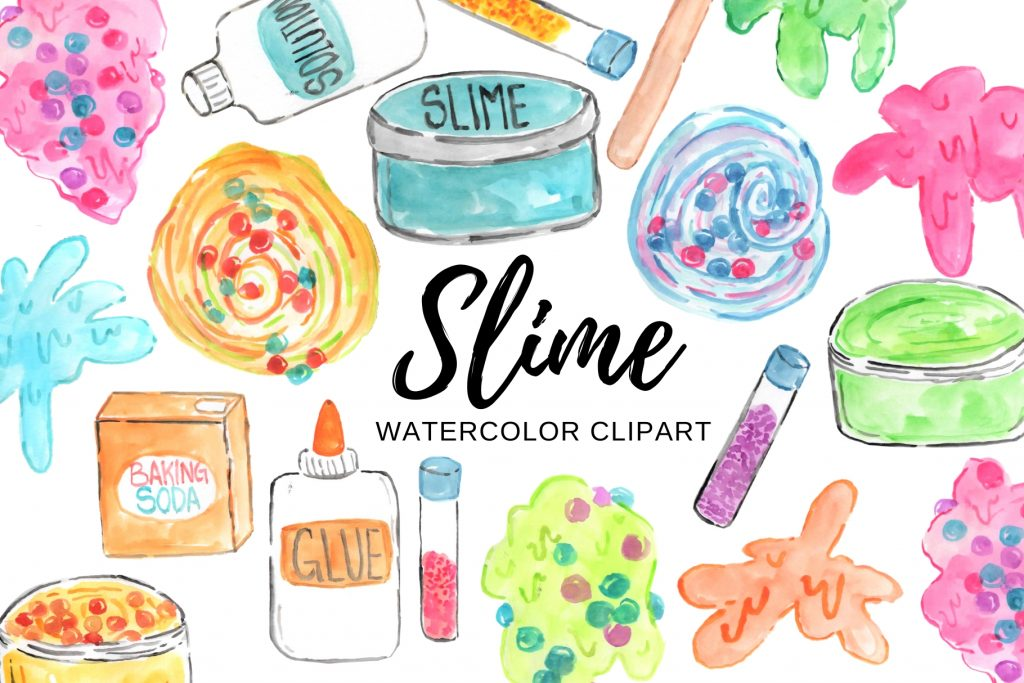 watercolor slime clipart writelovely thehungryjpeg