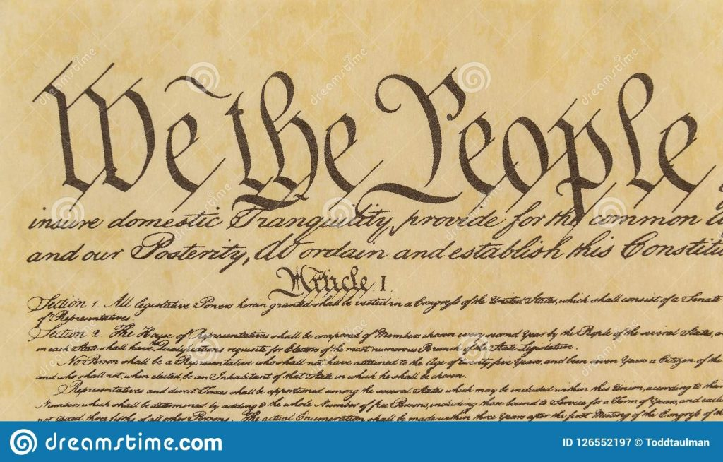 we the people front tight shot of preamble stock image