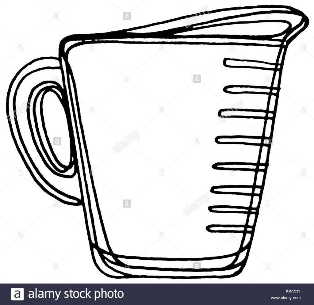 a black and white illustration of a measuring cup stock