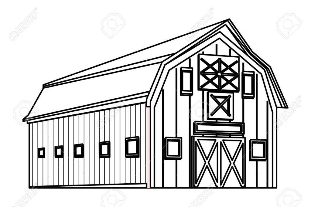 barn icon cartoon isolated black and white vector illustration