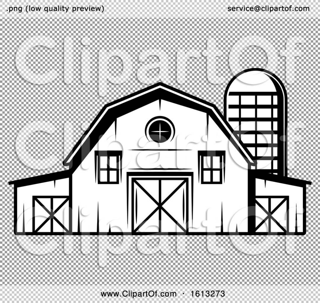 clipart of a black and white barn and silo royalty free