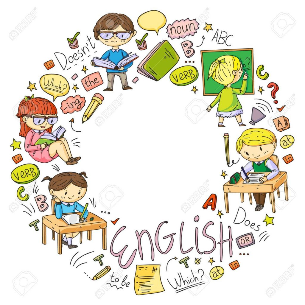 english school for children learn language education vector