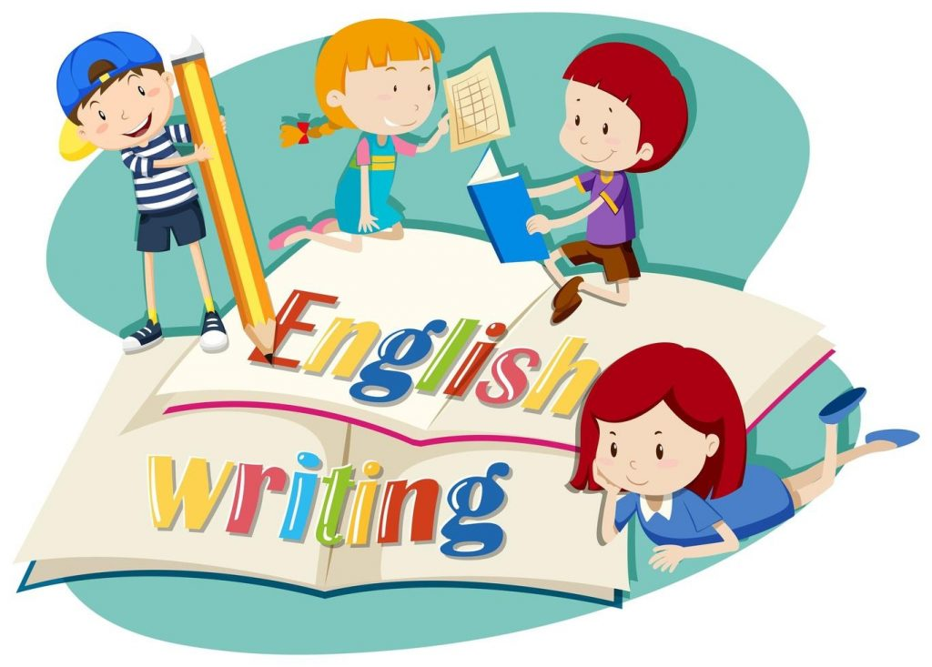 kids working on english writing download free vectors