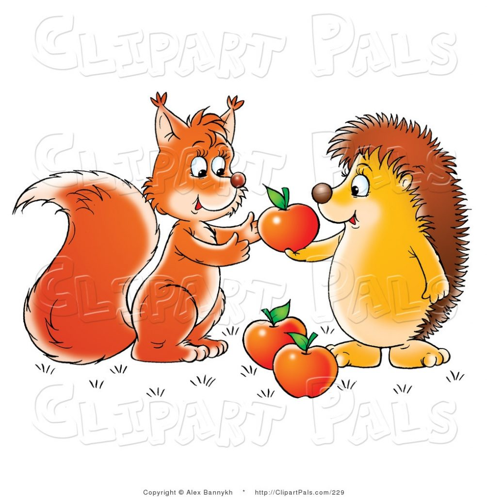 pal clipart of a hedgehog sharing apples with a friendly