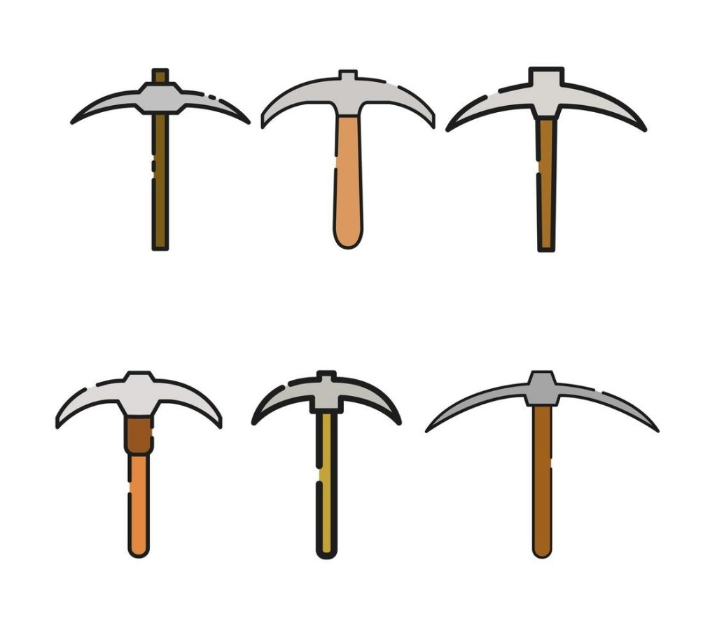 pickaxe set on white background download free vectors