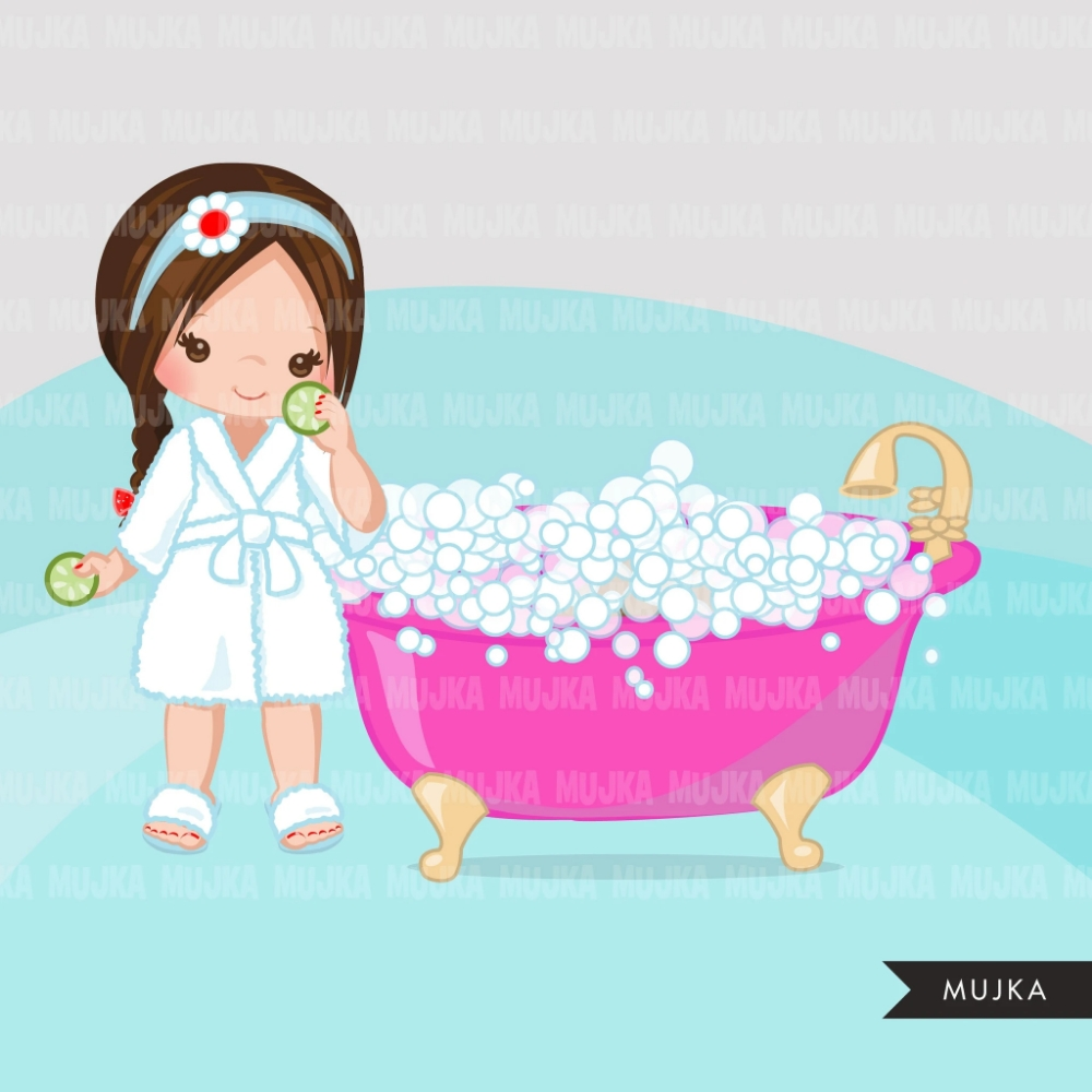 spa clipart spa elements party black girl graphics bubble
