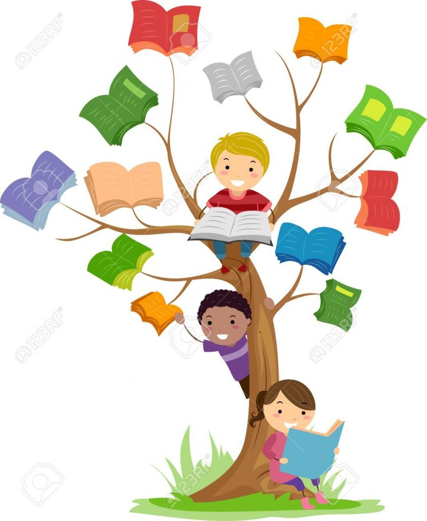 stickman illustration of kids reading books growing off a