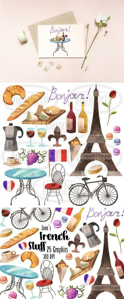 watercolor french culture clipart french culture clip art