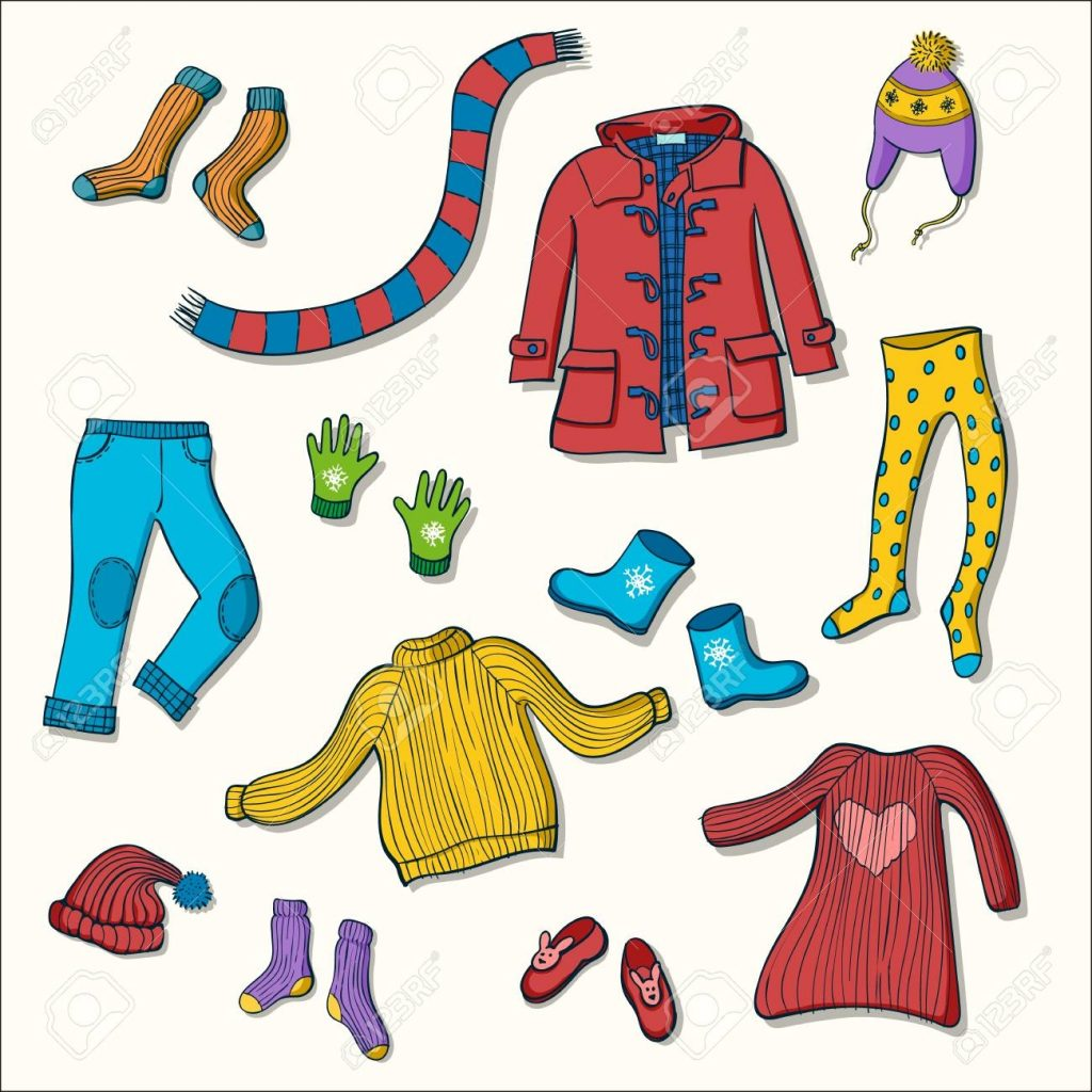 winter clothing set of vector illustrations collection of warm